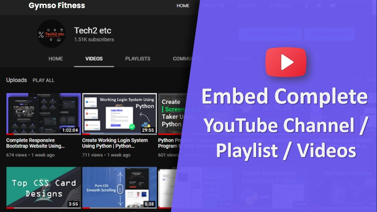 Embed YouTube Videos/Channel/Playlist On Website