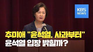 """추미애 """"윤석열, 사과부터 했어야""""…윤 총장, 내일 국…"""