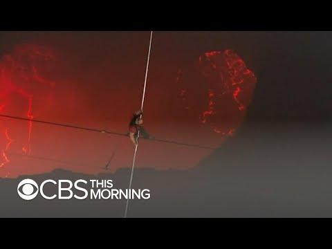 Nik Wallenda walks on tightrope across active volcano in Nic