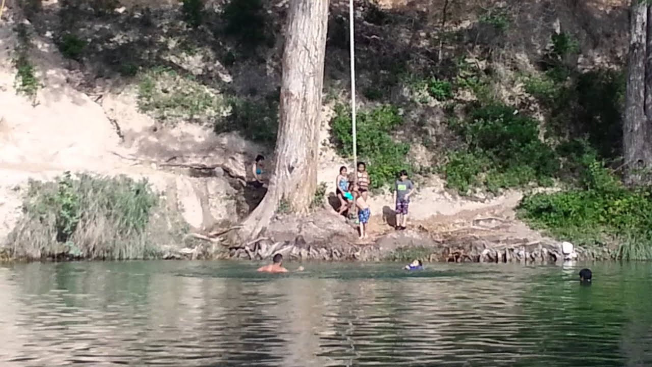 Garner state park rope swing youtube for Swing over water