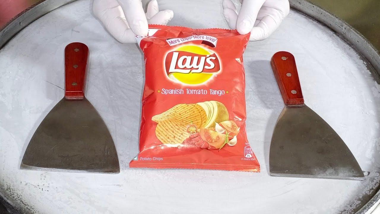 Lays Spanish Tomato Tango Ice Cream Rolls l How To Make Ice Cream Rolls With Lays l ASMR