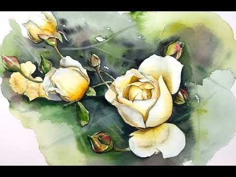 Yellow Roses in Watercolors  Painting Tutorial