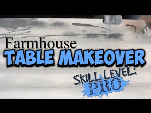 Kitchen Table Makeover * faux farmhouse barn wood shabby chic look * Wood Grain Brush DIY *