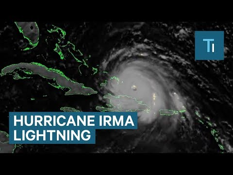 Incredible footage from space shows massive lightning storms in Hurricane Irma