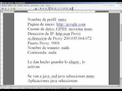 INTERNET GRATIS PARA ALCATEL OT-606 (SOLO PARA MOVISTAR)
