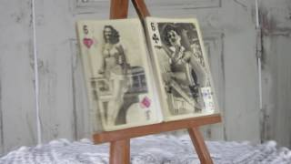Vintage white and black playing cards mid century, Nude girls vintage paper cards, Paper poker cards