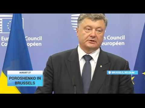 Poroshenko in Brussels: Ukraine's President says Russia must abide by existing truce