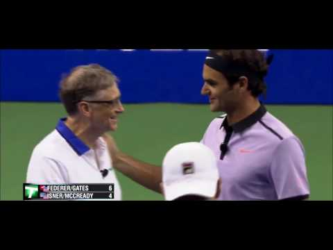 Federer &Bill Gates team tennis 2017 THE MATCH FOR AFRICA 4