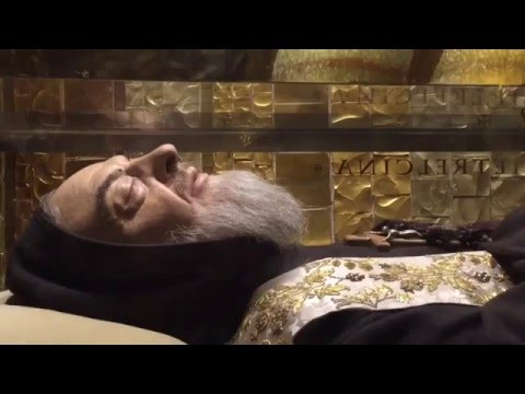Saint Padre Pio body still preserved at San Giovanni Rotondo in Italy