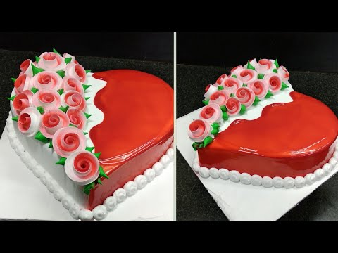 Heart Shape Cake Design Red Gel Decorating 🎀 Making By Sunil Cake Master | New Cake Design 2020
