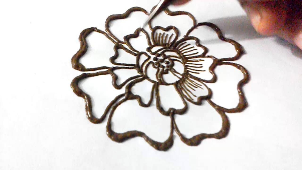 How To Draw Henna Flower In Simple Way By Henna Artist Fasmin Youtube