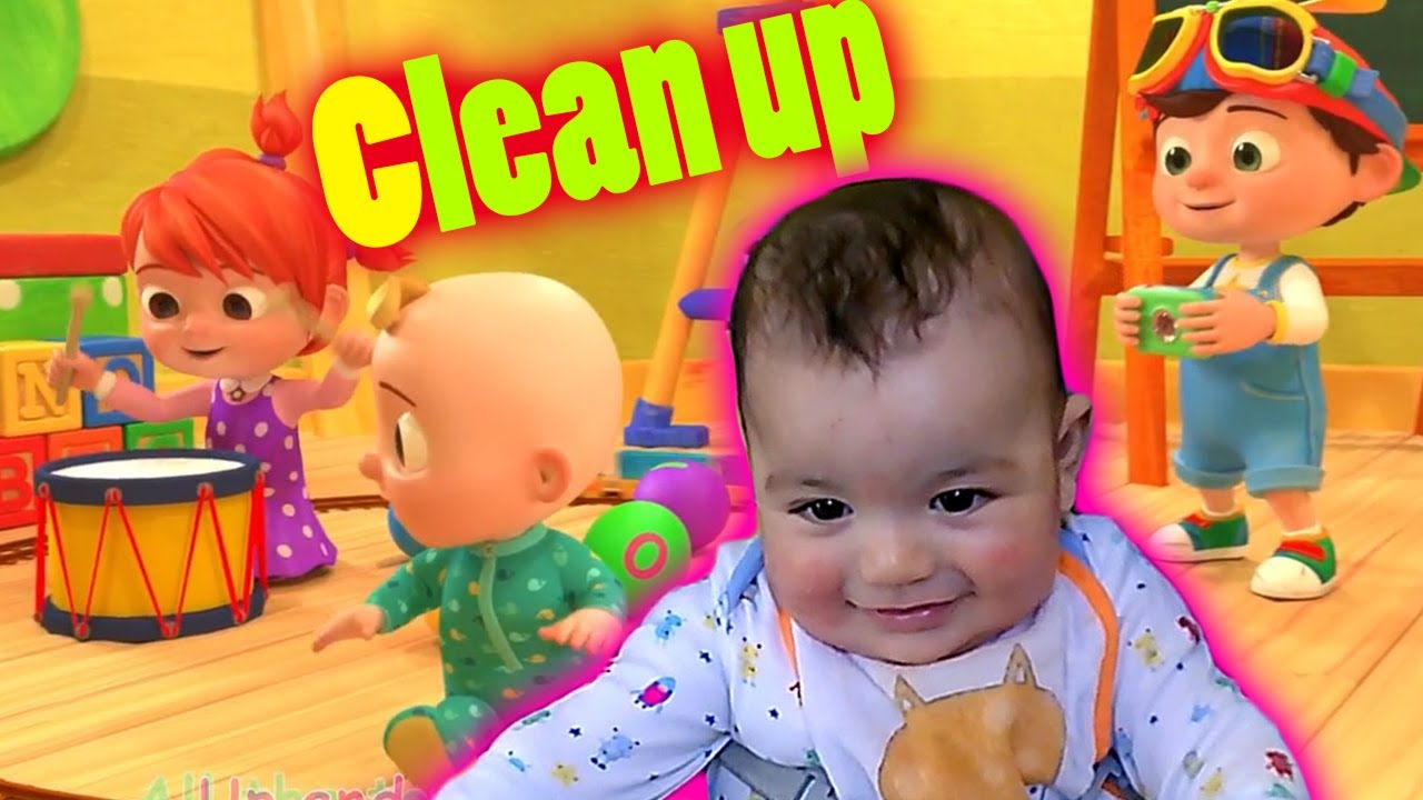 Baby Reacts to Clean Up Song by CoCoMelon Nursery Rhymes ...