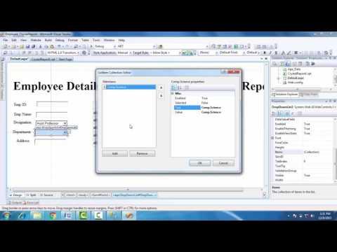 ASP.Net application for Employee details using CrystalReport SQL Server 2005