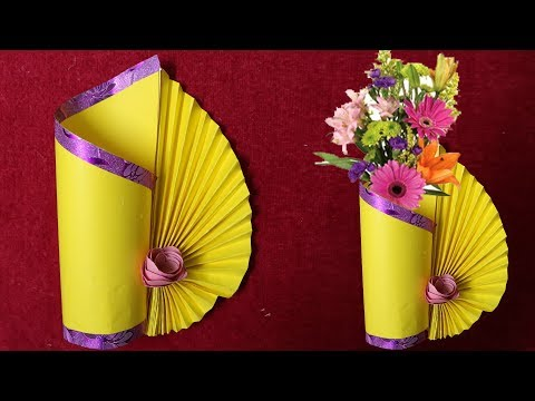 Paper Flower Vase making at Home | Paper cutting Craft || Crafts Ideas
