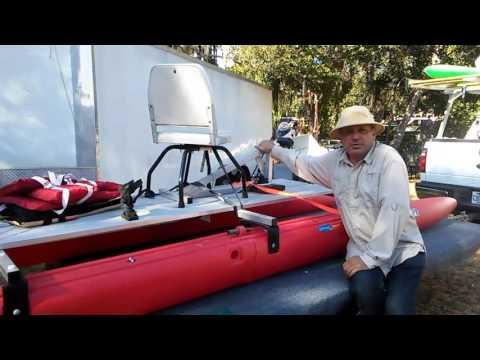 Pedal drive on Expandacraft catamaran.