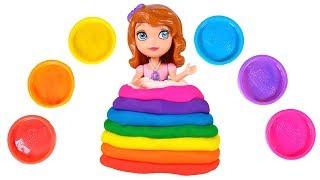 PRINCESA SOFIA ✨🌈 Hacemos un vestido de Play-Doh de colores arcoiris para la princesa Sofía