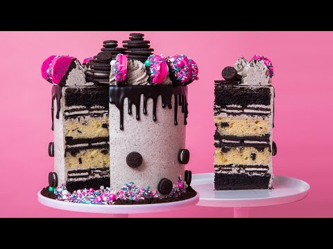 GIANT Cookies and Cream Drip Cake! | How To Cake It Step By Step
