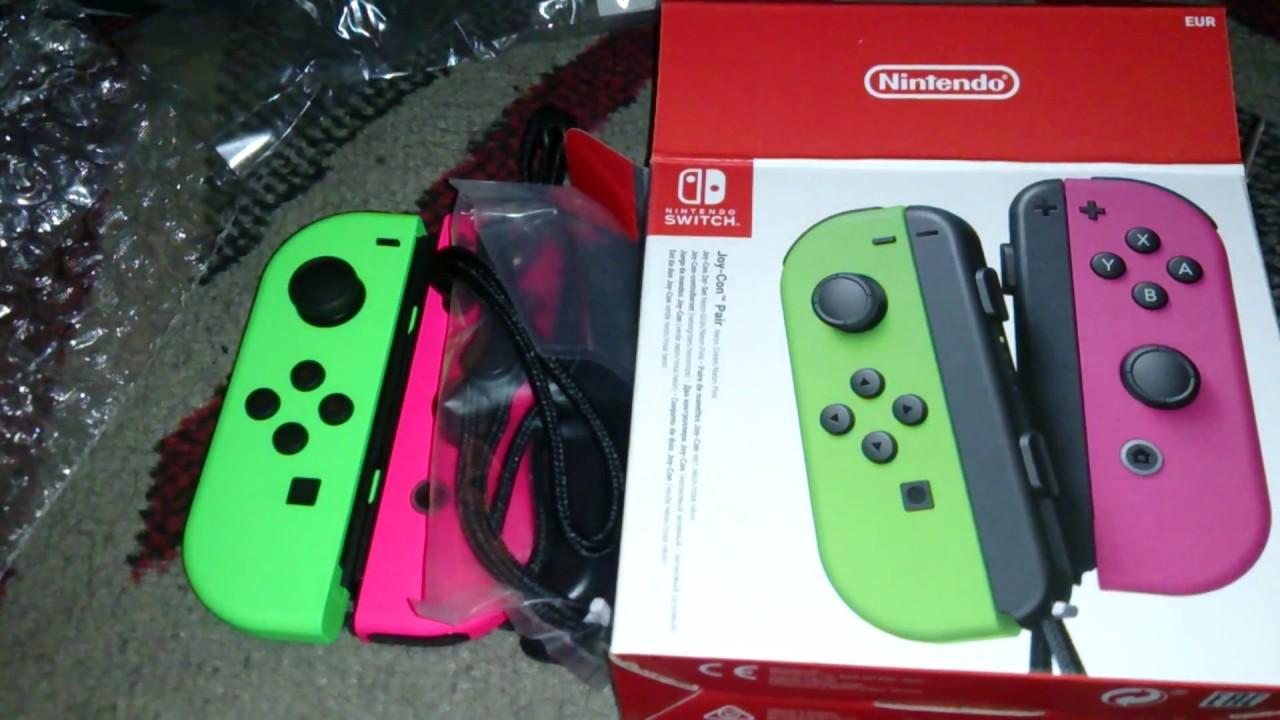 Nostalgamer Unboxing Joy-Con Pair Neon Green Neon Pink On Nintendo Switch  UK PAL System Version