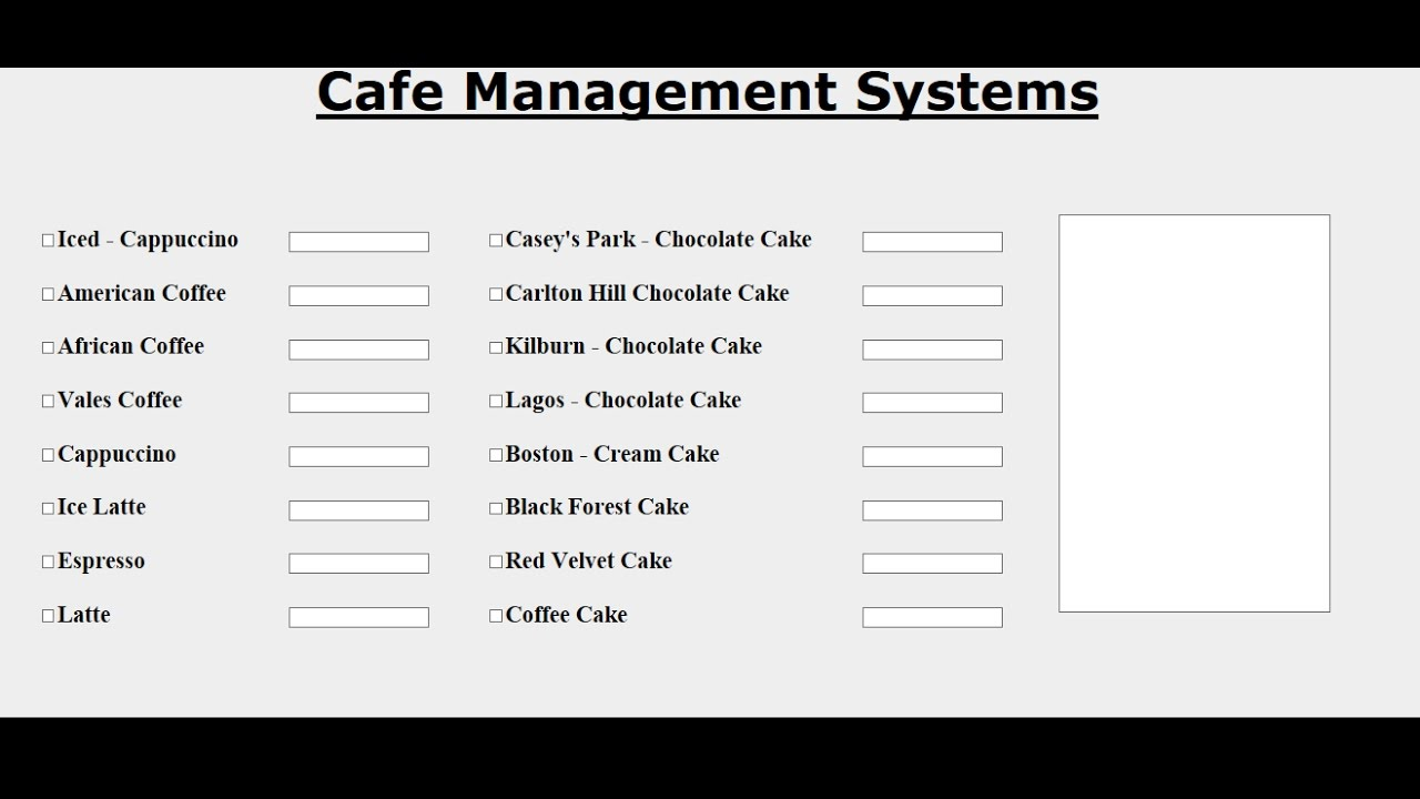 How to Design Cafe Management System with HTML using Table