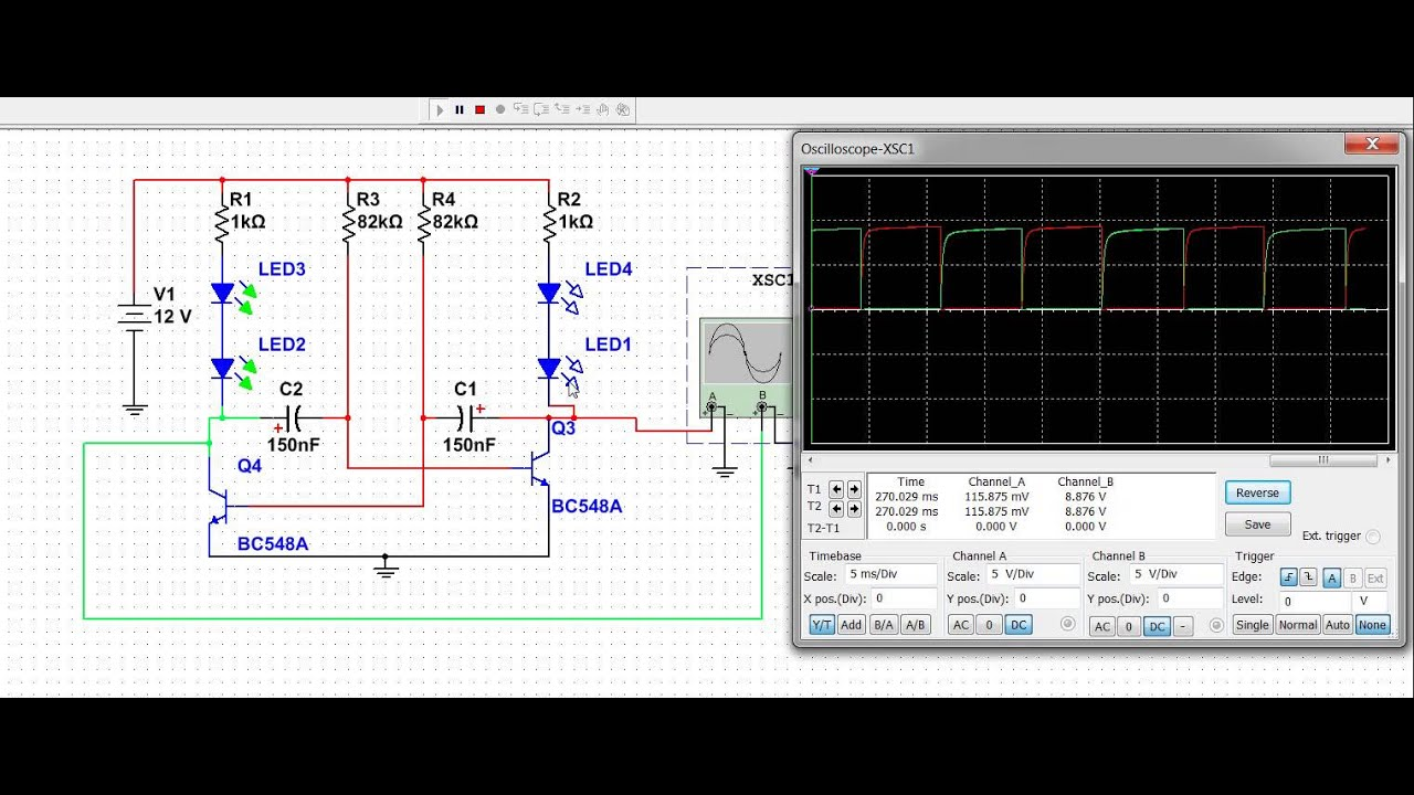 Astable Multivibrator Simulation Using Transistor
