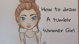 How to draw a girl with a messy bun tumblr