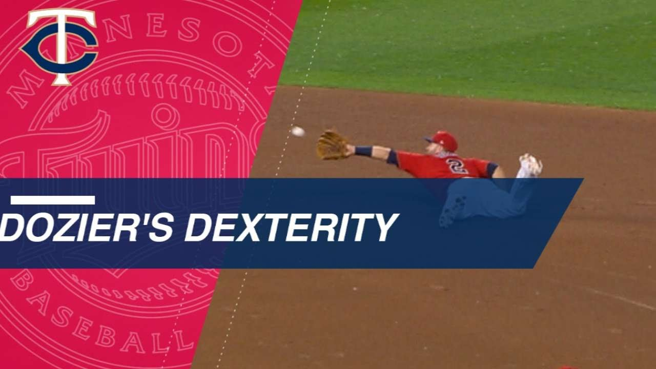 Dozier's dive, flip to second base start double play