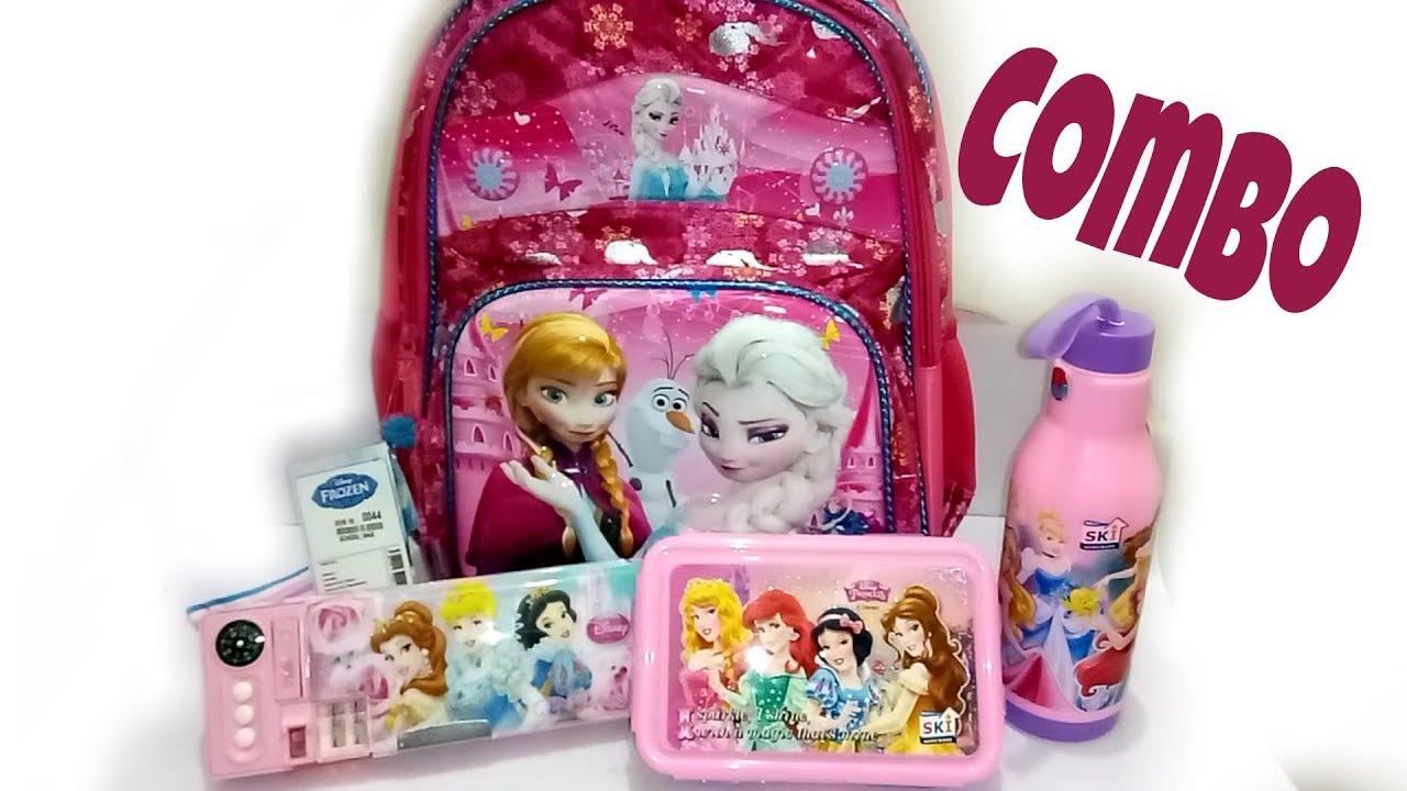 e028e69e02 Disney Frozen doll School bag, tiffin box, water box, pencil box ...