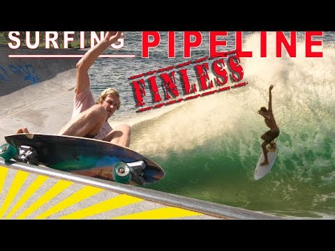 SURFING PIPELINE WITH NO FINS !!!  (DAY IN THE LIFE VLOG)