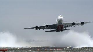 Spectacular A380 crosswind takeoff in snow (4K)