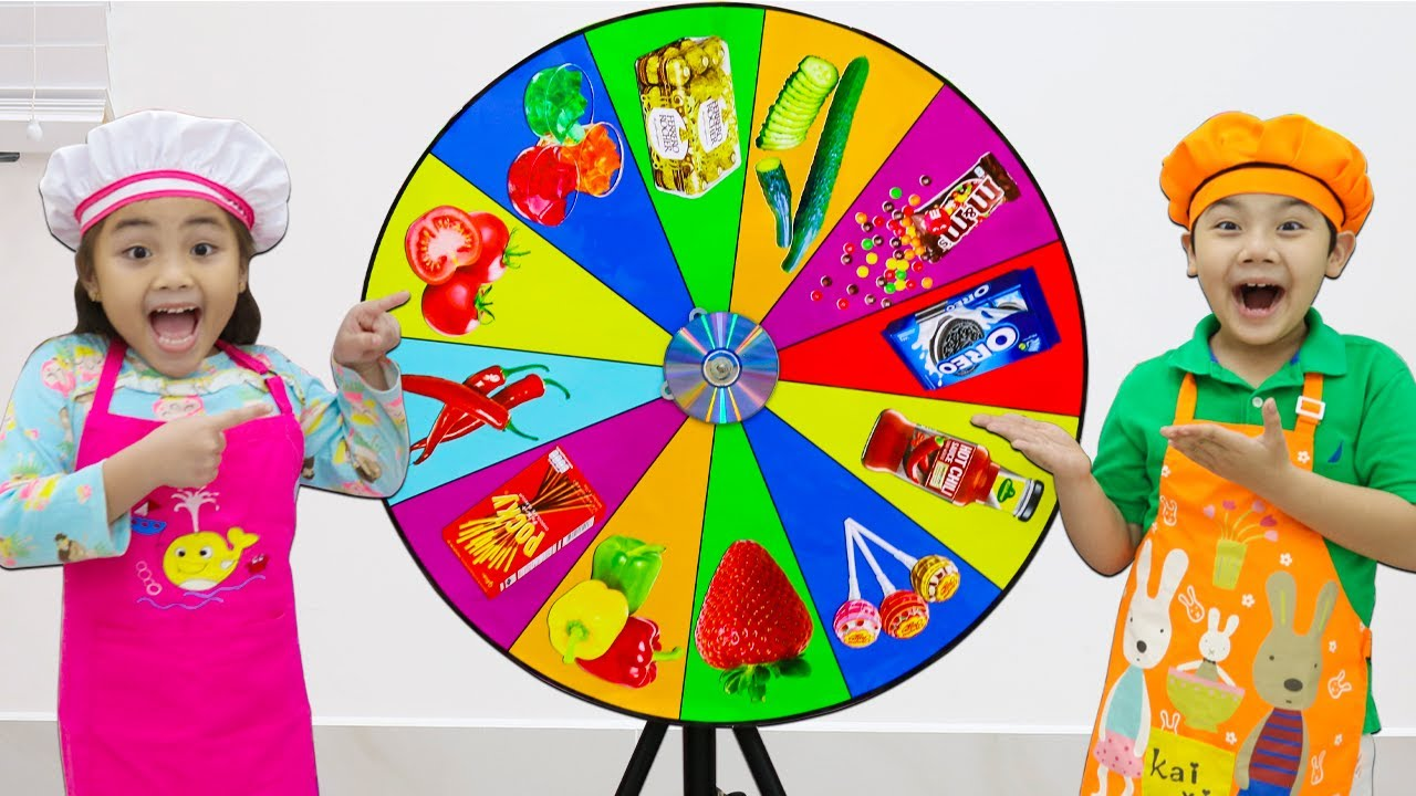 Annie and Sammy Pretend Play the MYSTERY SPIN THE WHEEL Food Challenge | Funny Stories with Toys