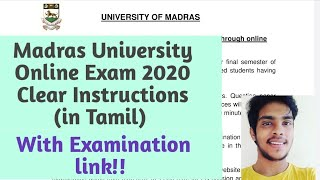 Madras University Online Exam Instruction 2020 | Tamil | Let it Simple |