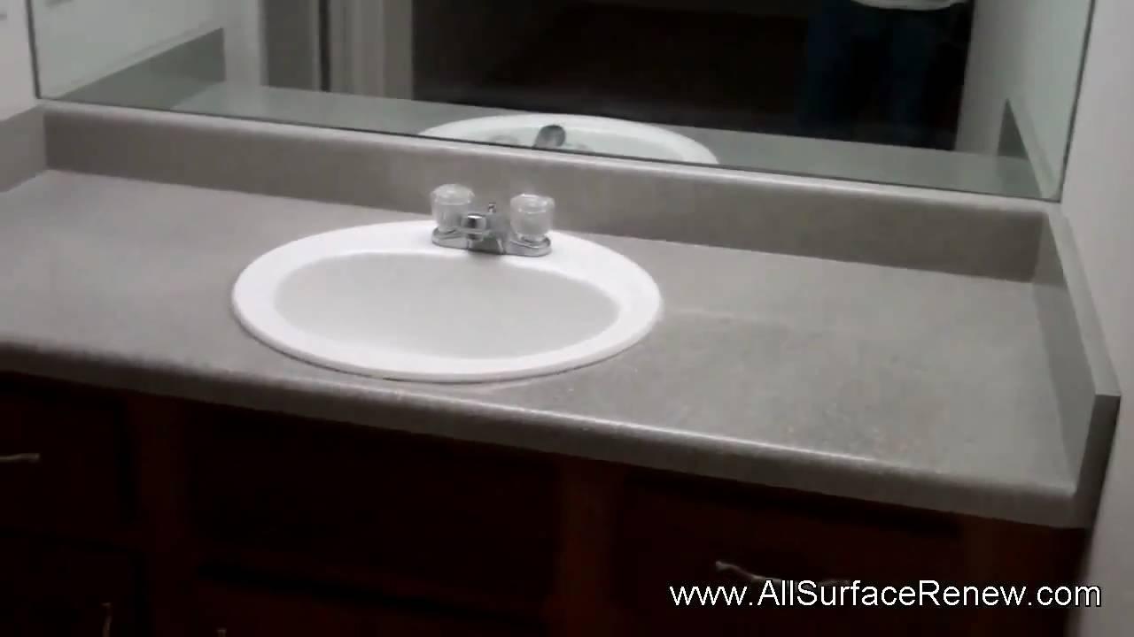 Old Plain Gray Bathroom Vanity Refinished to StoneLook