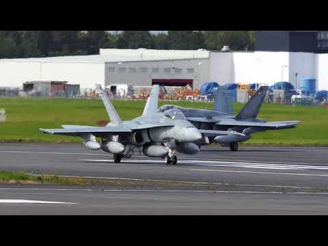 Canforce CF-188s Hornets and CC150 Polaris Tanker depart Prestwick for Romania - [4K/UHD]