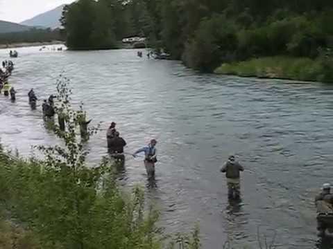 Combat fishing for sockeye salmon on russian kenai river for Kenai river salmon fishing