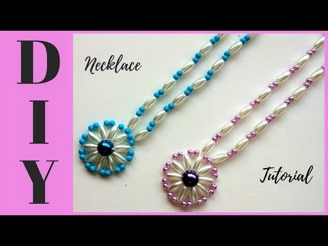 10-minutes-diy-necklace.-how-to-make-beaded-necklace-with-pendant-.-jewelry-making-tutorial.