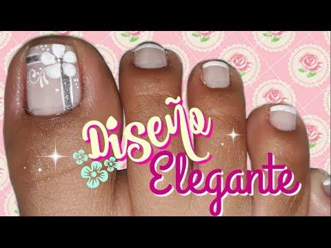 Decoración De Uñas Pies Elegantechic Feet Nail Decoration Youtube
