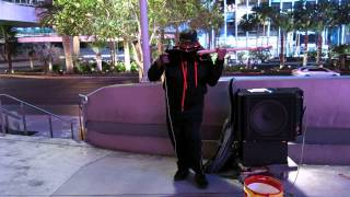 Rad Bass player on the streets of Vegas