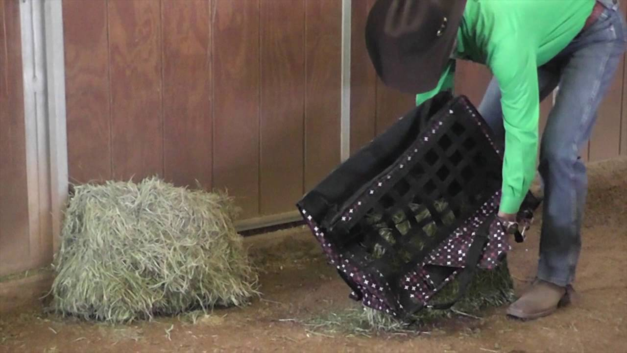 Feed Hay Filling And Hanging A Slow Feed Hay Bag