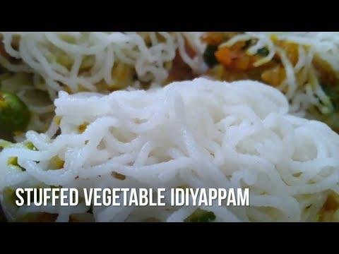 Stuffed vegetable idiyappam, idiyappam receipe,Rice noodles with stuffed vegetable