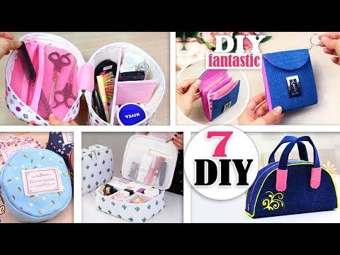 7 AWESOME DIY PURSE BAG NO SPEND MONEY // Cute Pouch Ideas