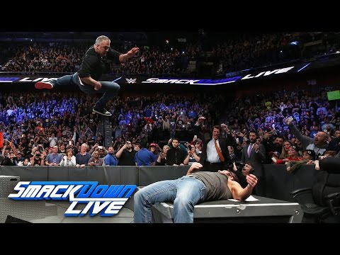 Thumbnail: Shane McMahon hits AJ Styles with an elbow onto the announce table: SmackDown LIVE, Mar. 21, 2017
