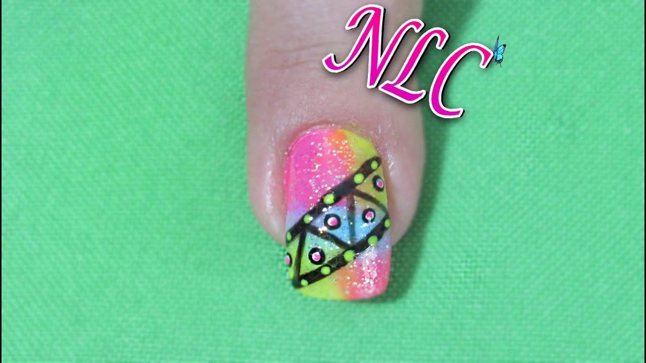 Decoración de uñas figuras sobre degradado - Degradade nail art ...