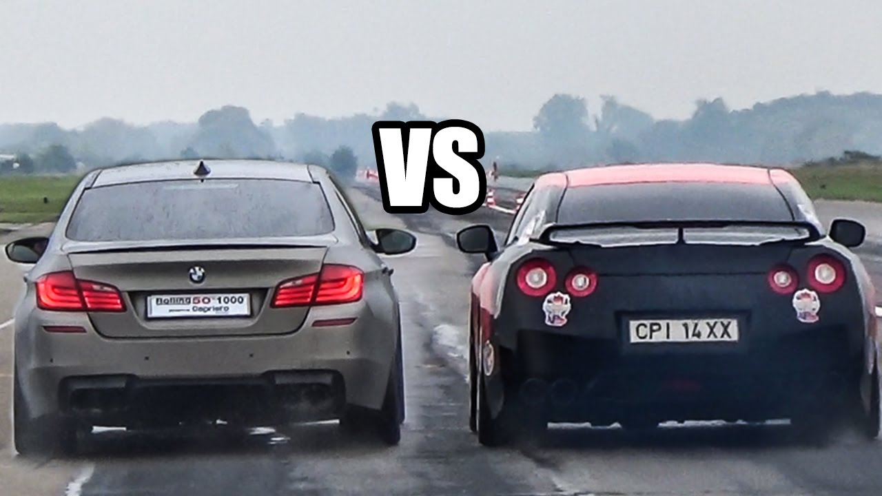 BMW M5 F10 VS NISSAN GTR R35 - DRAG RACE! - YouTube