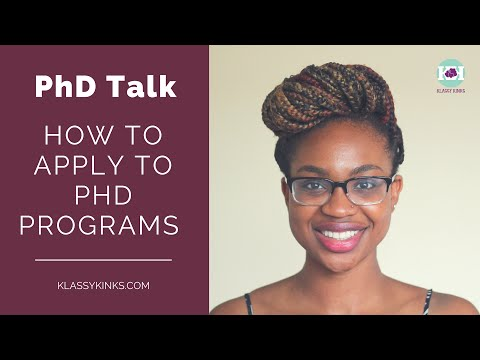 PhD Talk  How to Apply to PhD Programs