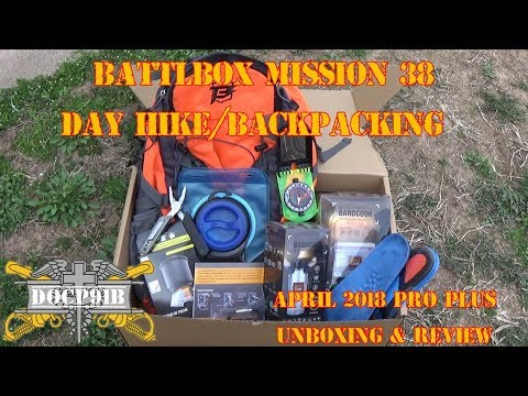 Battlbox (Battle Box) Mission 38 Day Hike/Backpacking - April 2018 - Pro-Plus Unboxing and review