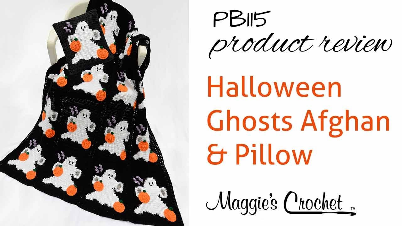 Halloween Ghosts Afghan and Pillow Set Crochet Pattern Product ...