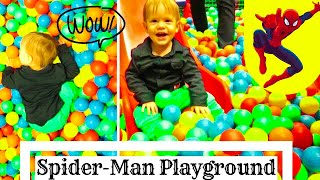 Indoor Playground for Kids With Family Fun Play Time. Spider Man Fun Time