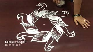 simple swan rangoli design 5x3 middle dots || beautiful swan designs || creative rangoli