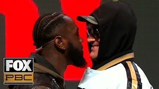 Deontay Wilder and Tyson Fury get into a shoving match before press conference | PBC ON FOX