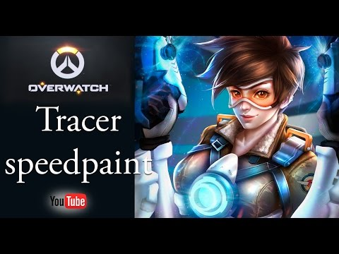 Tracer from Overwatch speed paint drawing process